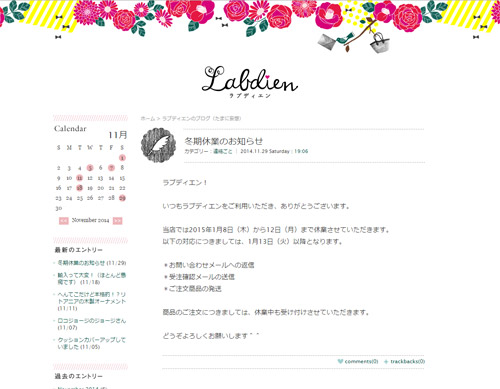 ラブディエン ショップブログのデザイン