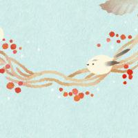 小鳥 エナガ 赤い実 リース 冬