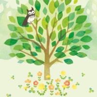 フクロウ 森 大木 緑 花畑