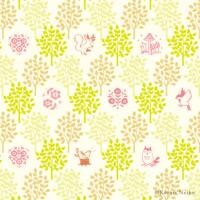 森 パターン柄 動物 りす ふくろう 花