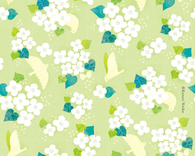 パターン ドクダミ 緑 鳥 花 白い花