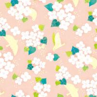 パターン ドクダミ ピンク 鳥 花 白い花