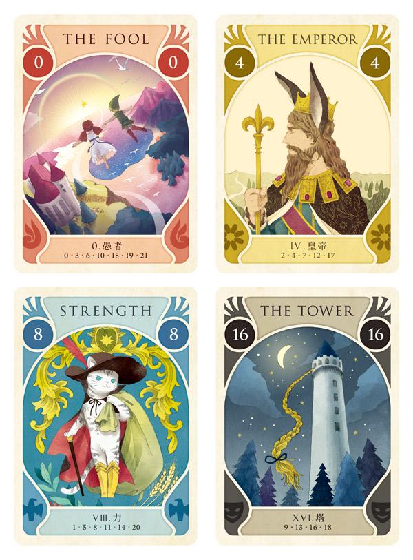 カードゲーム「タロットストーリア」アートワーク ピーターパン 王様の耳はロバの耳 長靴をはいた猫 ラプンツェル