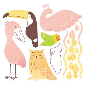 酉年年賀状デザイン 野鳥 熱帯の鳥