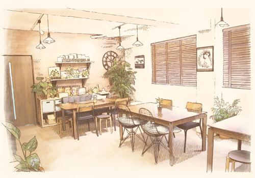 ボードゲームカフェ ディアシュピール様 店舗内イラスト