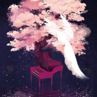 夜桜・チェンバロ・白孔雀のイラスト