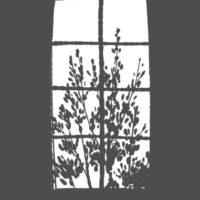 インテリアイラスト 窓の向こうの木立 モノクロ